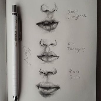 Different Nose Shapes Semi Realistic Bts Drawings Kpop Drawings Drawings