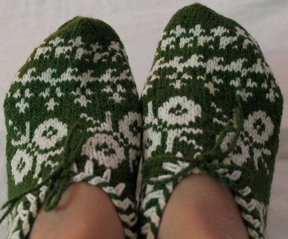 Hand knitted women's winter warm slippers house socks