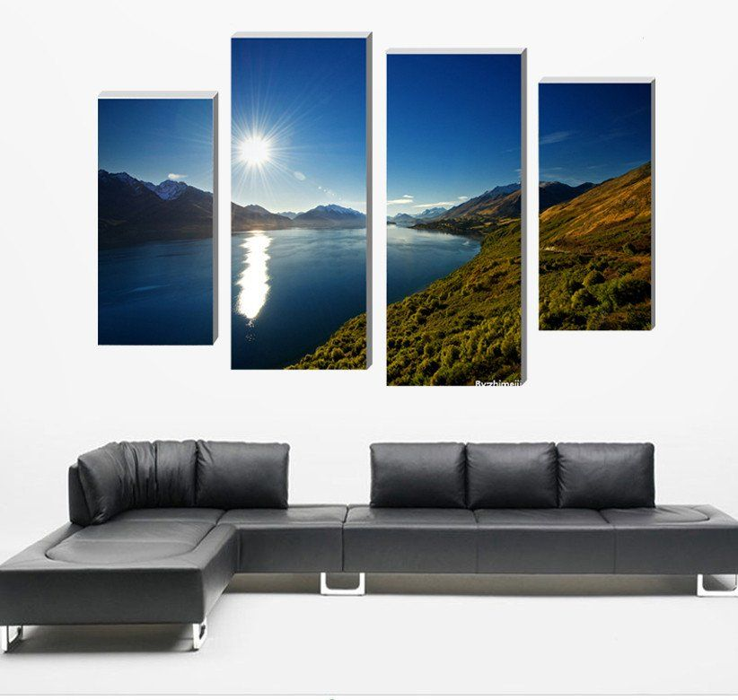 4 Panel Art Cape Lake Sky Sun Canvas Wall Art Home Decoration Living C U2013 Bu0026M