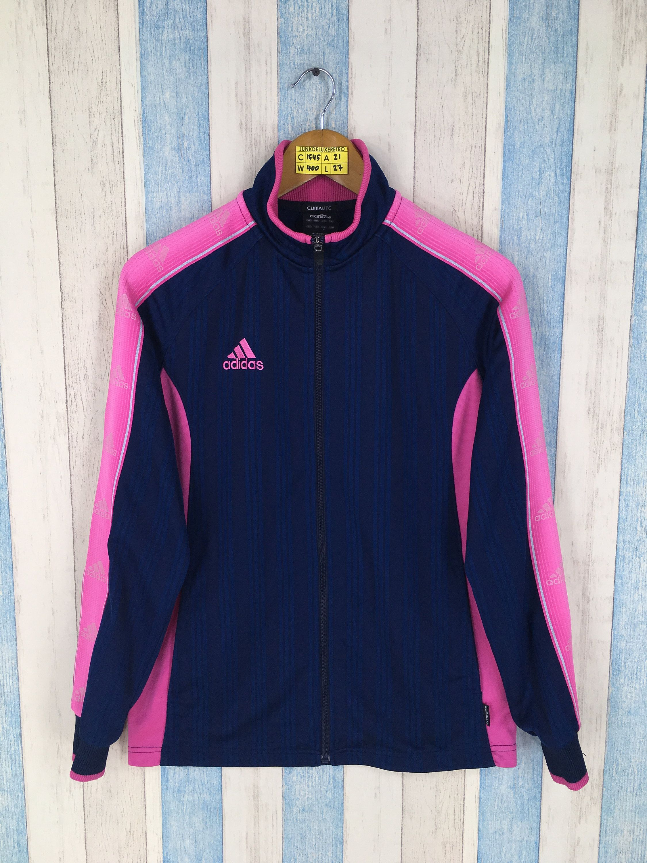 ADIDAS Firebird Jacket Black Women Medium Vintage 90s Adidas Pink Three Stripes Track Top Sportswear Adidas Blue Windbreaker Jacket Size M