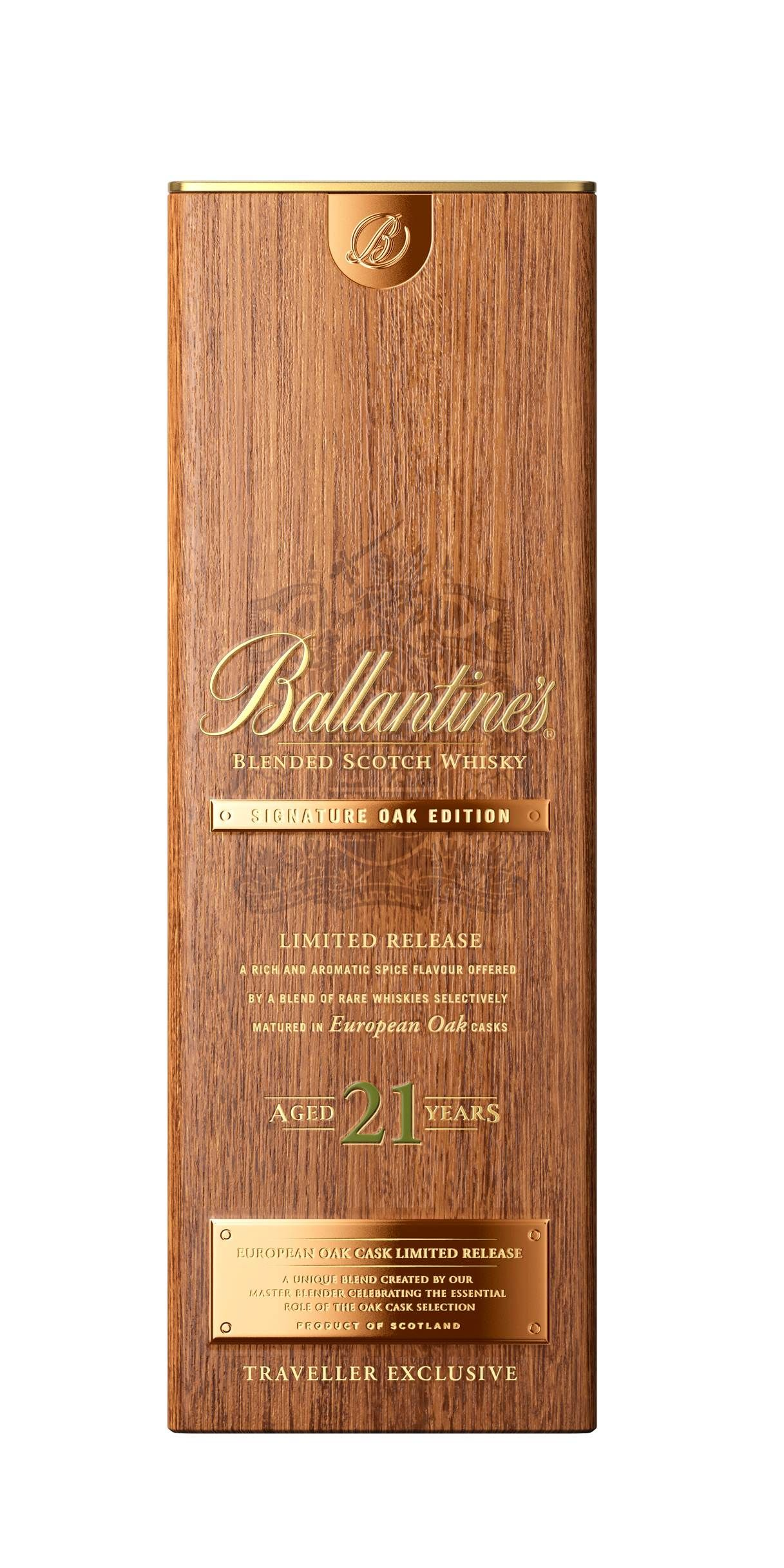 Ballantine S 21 Year Old Signature Oak Edition Wood Packaging