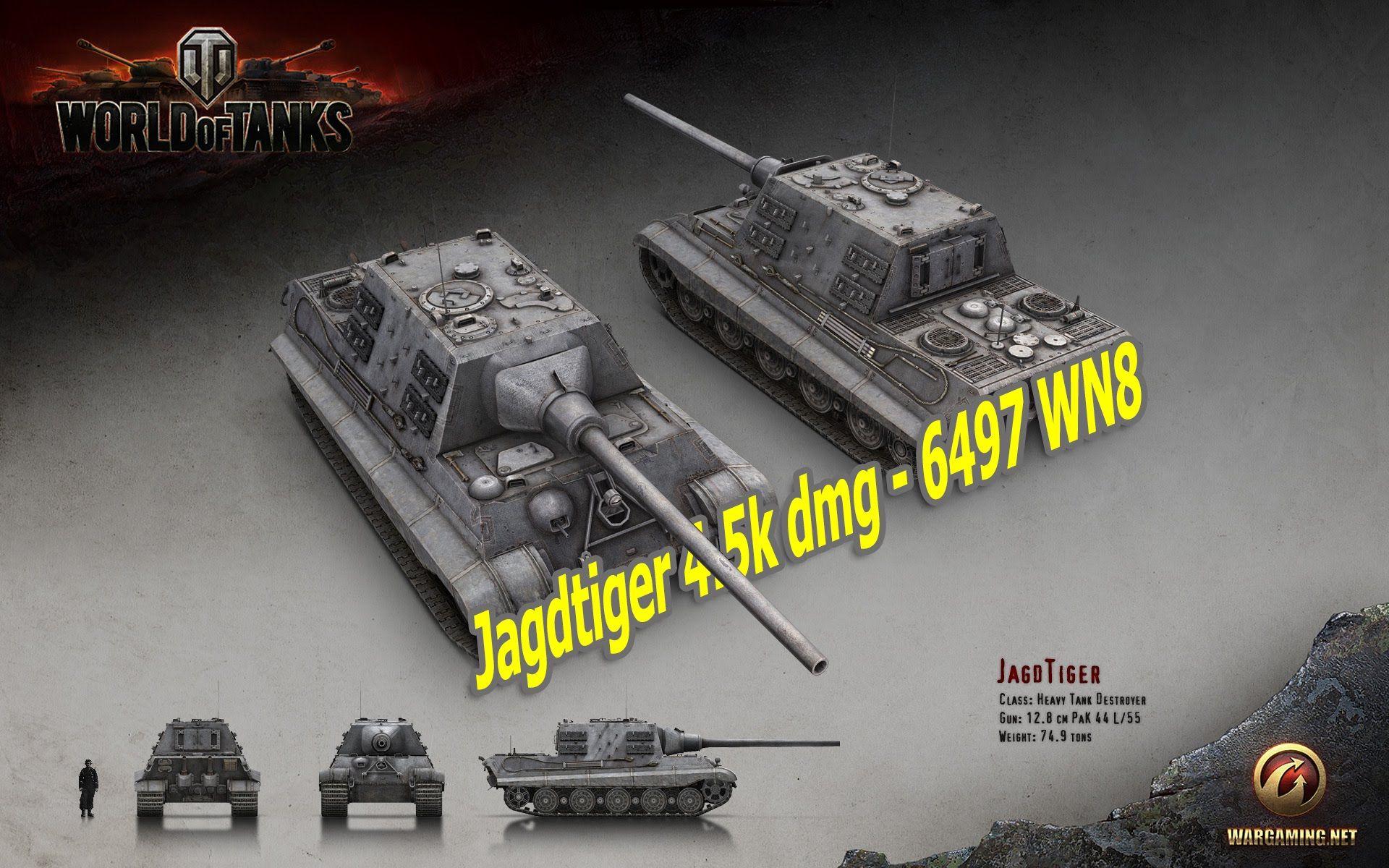 World Of Tanks Jagdtiger 4 5k Dmg 6497 Wn8