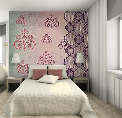 d co de chambre violet prune et mauve avec un papier peint. Black Bedroom Furniture Sets. Home Design Ideas