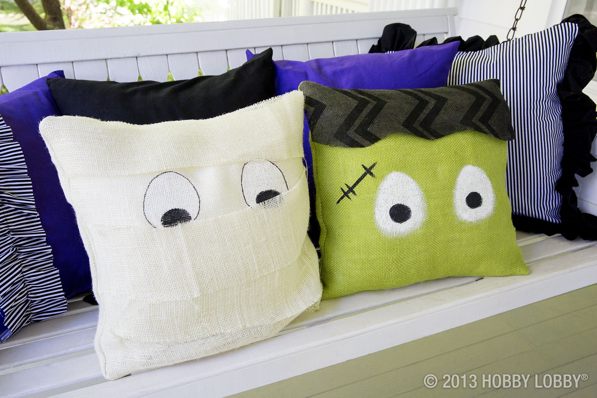 Wrap pillow forms in burlap and paint on some googly eyes for a fun - Hobby Lobby Halloween Decorations