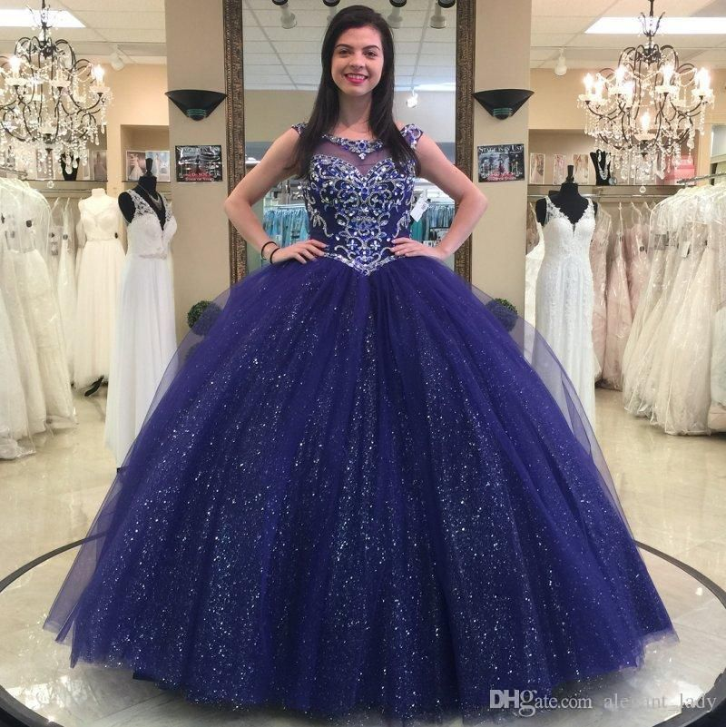 Sparkly Navy Blue Beaded Ball Gown Quinceanera Dresses Crystals Sheer  Bateau Neck Sequined Prom Gowns Tulle Rhinestones Sweet 16 Dress Flower Girls  Dress ... ba065772467e