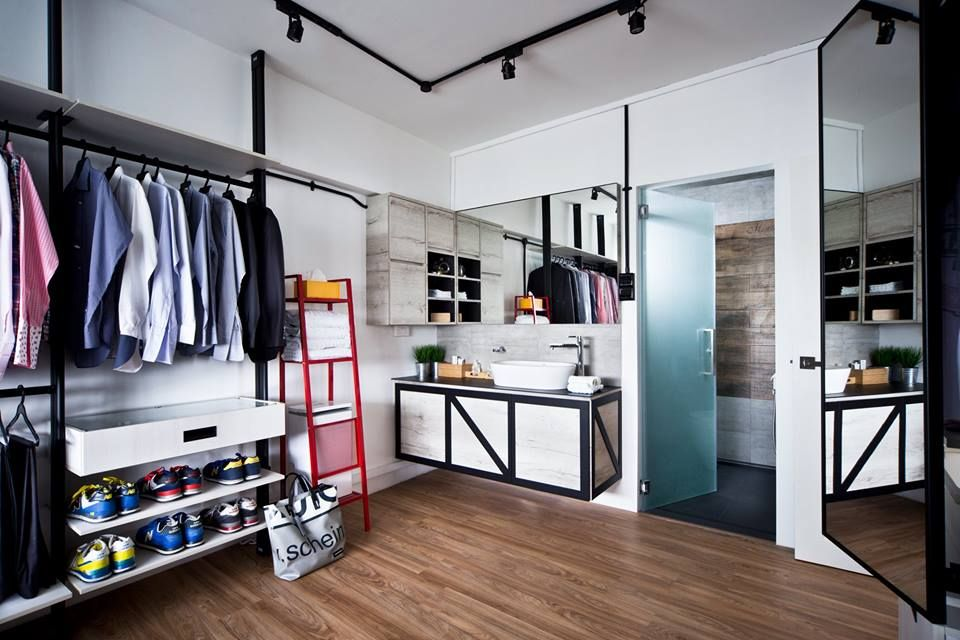 10 Open Concept Walk In Wardrobe Ideas For Your Hdb Industrial Home Design Home Renovation Four Rooms