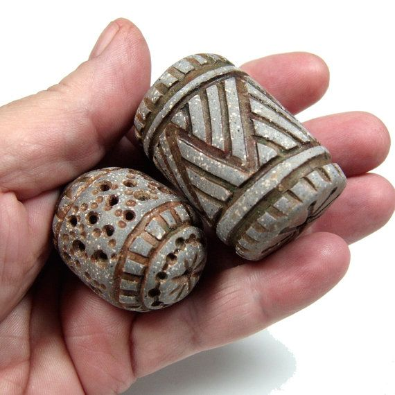 Two One of a Kind Hand Carved Ceramic Hollow Clay by BHClaysmith