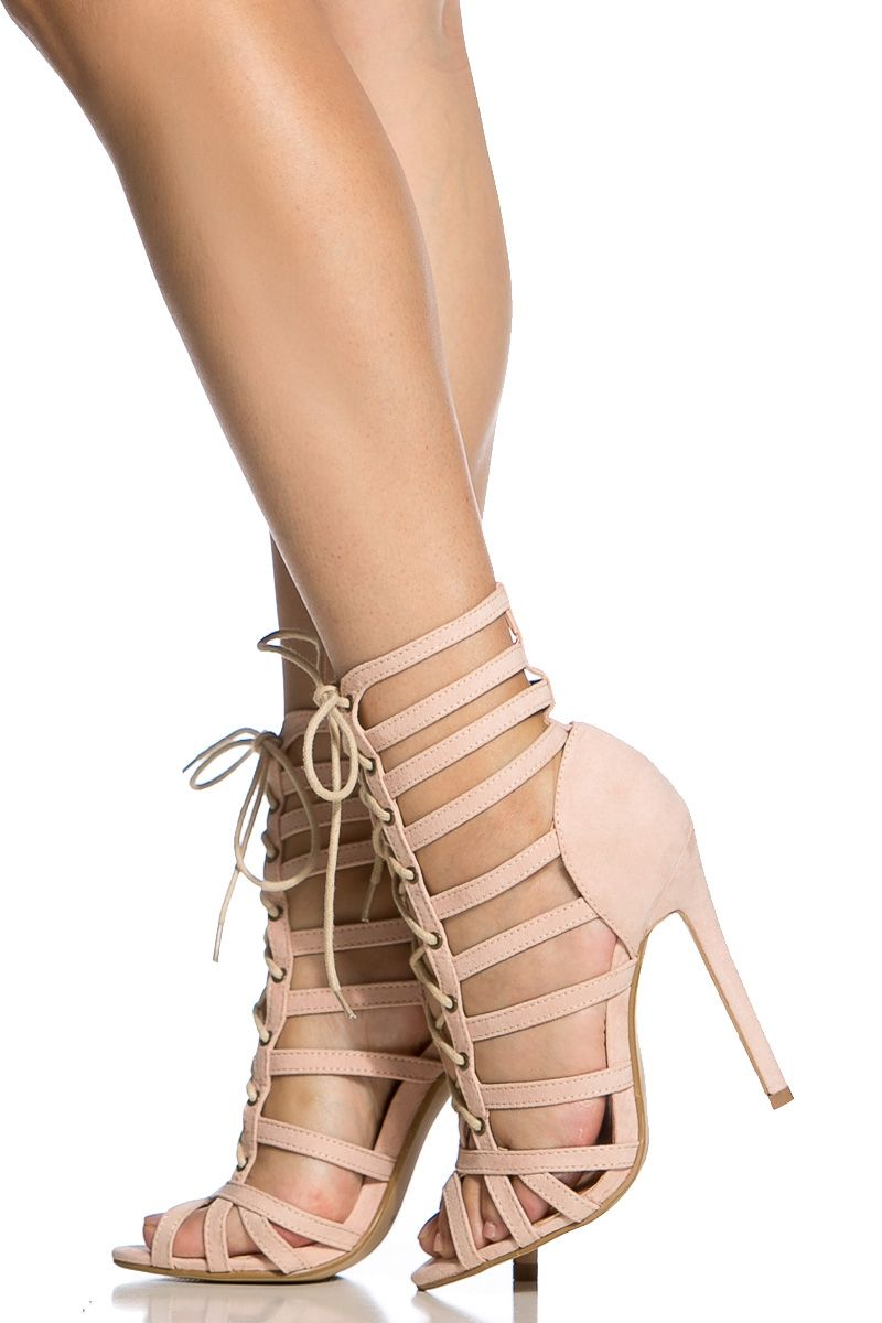 468b20a0bc2d Nude Faux Suede Cage Lace Up Single Sole Heels   Cicihot Heel Shoes online  store sales Stiletto Heel Shoes