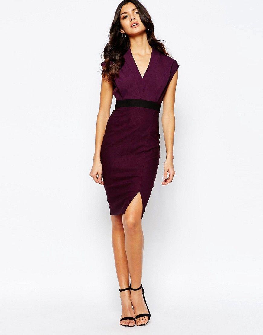 Vesper | Vesper 2 in 1 Knee Length Midi Dress with Cap Sleeve at ASOS