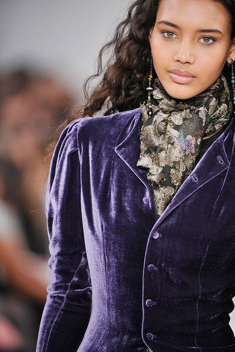 Purple velvet jacket with a floral scarf. I have this jacket in red but the purple is divine.