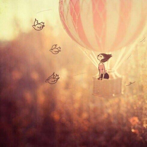 Image via We Heart It https://weheartit.com/entry/9813917 #art #balloon #birds #freedom #hotairballoon #kaleidoscope #pink #vintage