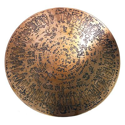 Vintage Round Etched Copper Top Coffee Table