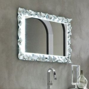 Specchio e specchiera bagno bonbon in vetro curvato e argentato con luce led integrata arbi - Specchio bagno con luce integrata ...