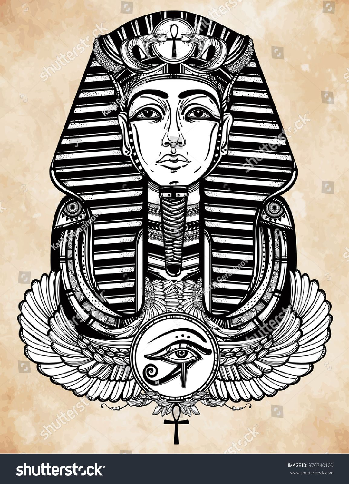 Stock Vector Vintage Tattoo Vector Pharaoh With Winged Ankh