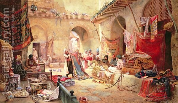 COPPERSMITH'S BAZAAR MIDDLE EASTERN MARKET PAINTING ART REAL CANVAS PRINT