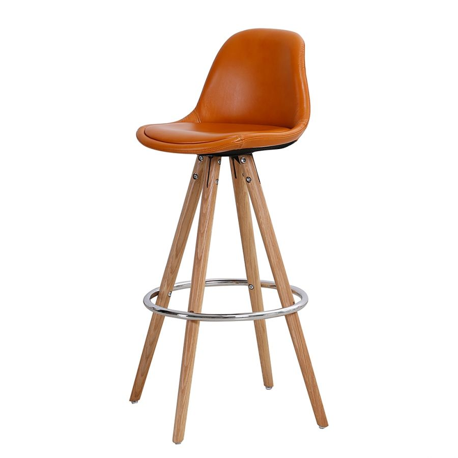 Barhocker Orso (2er-Set) - Echtleder - Orange