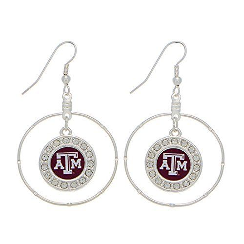 Texas AM Aggies 2 Silver Tone Hoop Earrings Featuring a Texas A  M Logo with Clear Crystal Rhinestones  Price : $11.99 http://www.janddjewelryandmore.com/Aggies-Earrings-Featuring-Crystal-Rhinestones/dp/B00M05X4QA