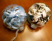 Such a cute idea! Cut a copy of your wedding invitation into strips and put into clear ornament!