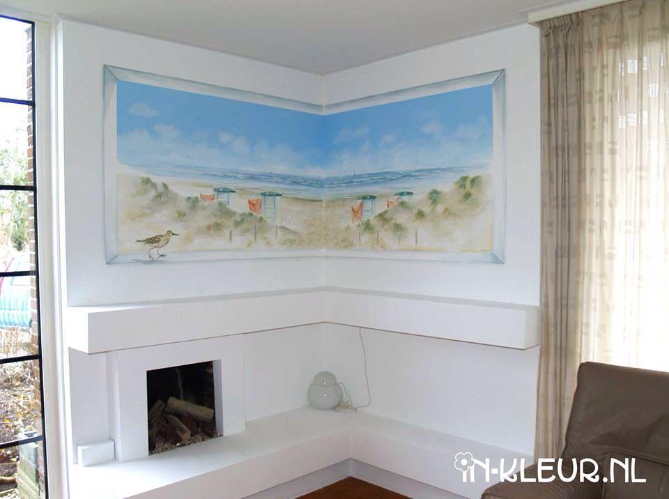 Muurschildering strand zee duinen in woonkamer | IN-KLEUR ...