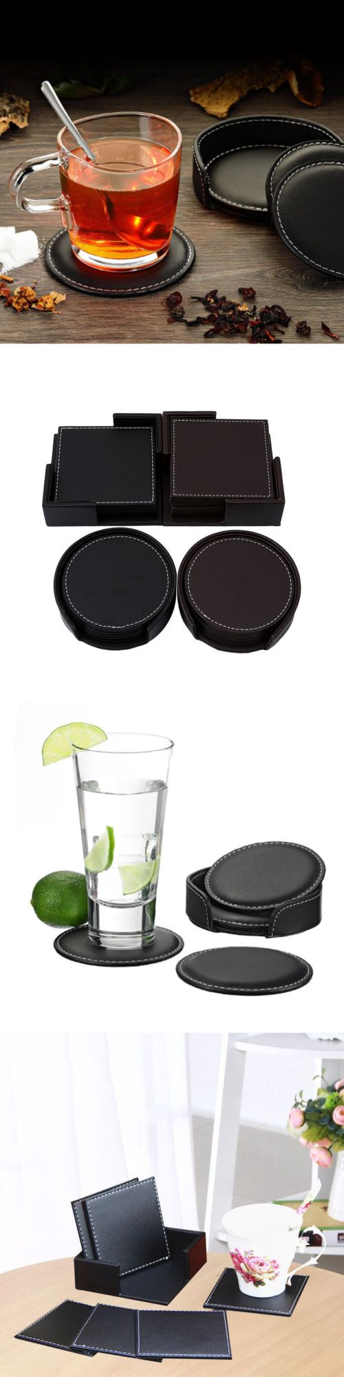 Coasters 36026 Set Of 6pcs Black Office Desk Decor Meeting Cup Mat Pu Leather Drink Coaster Buy It Now Only Office Desk Decor Desk Decor Black Desk Office