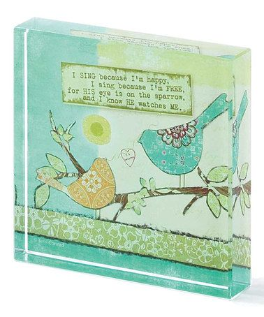 Another great find on #zulily! 'His Eye is on the Sparrow' Glass Block #zulilyfinds