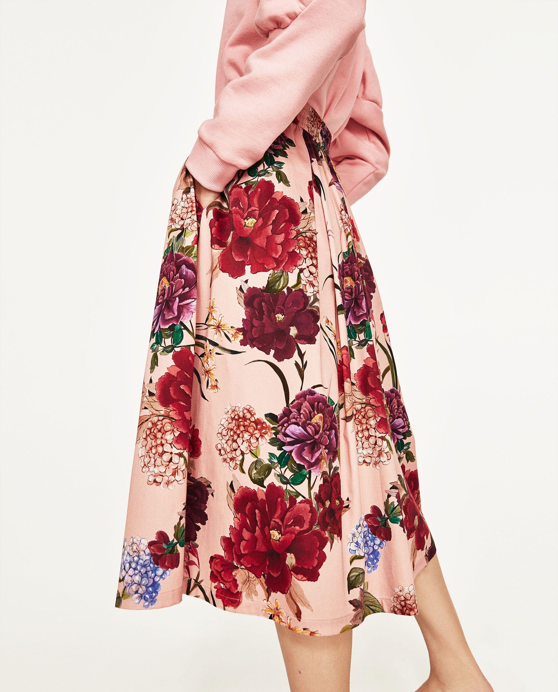 d38439d761 ZARA pink floral print skirt | MINE | Floral print skirt, Floral ...
