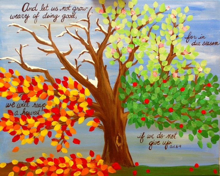 diy canvas tree in each season | Four Seasons Tree Acrylic Painting Scripture Bible Verse Spring Summer ...