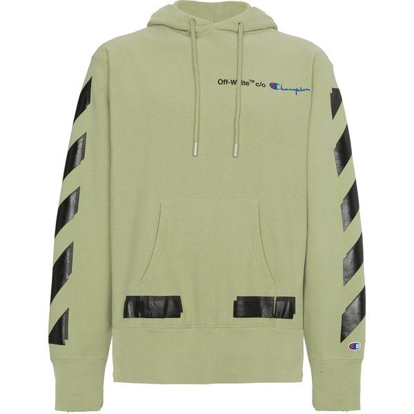 f440dcd98998 Off-White X Champion hoodie with logo (€540) via Polyvore featuring men s  fashion, men s clothing, men s hoodies, green, mens hoodies und mens  sweatshirts ...