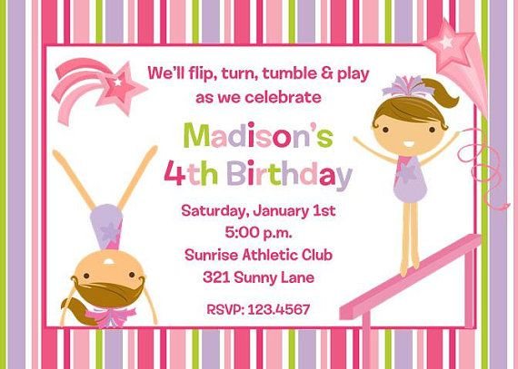 Gymnastics Birthday Invitations by PaperMonkeyCompany on Etsy, $100 - best of invitation wording for gymnastics party