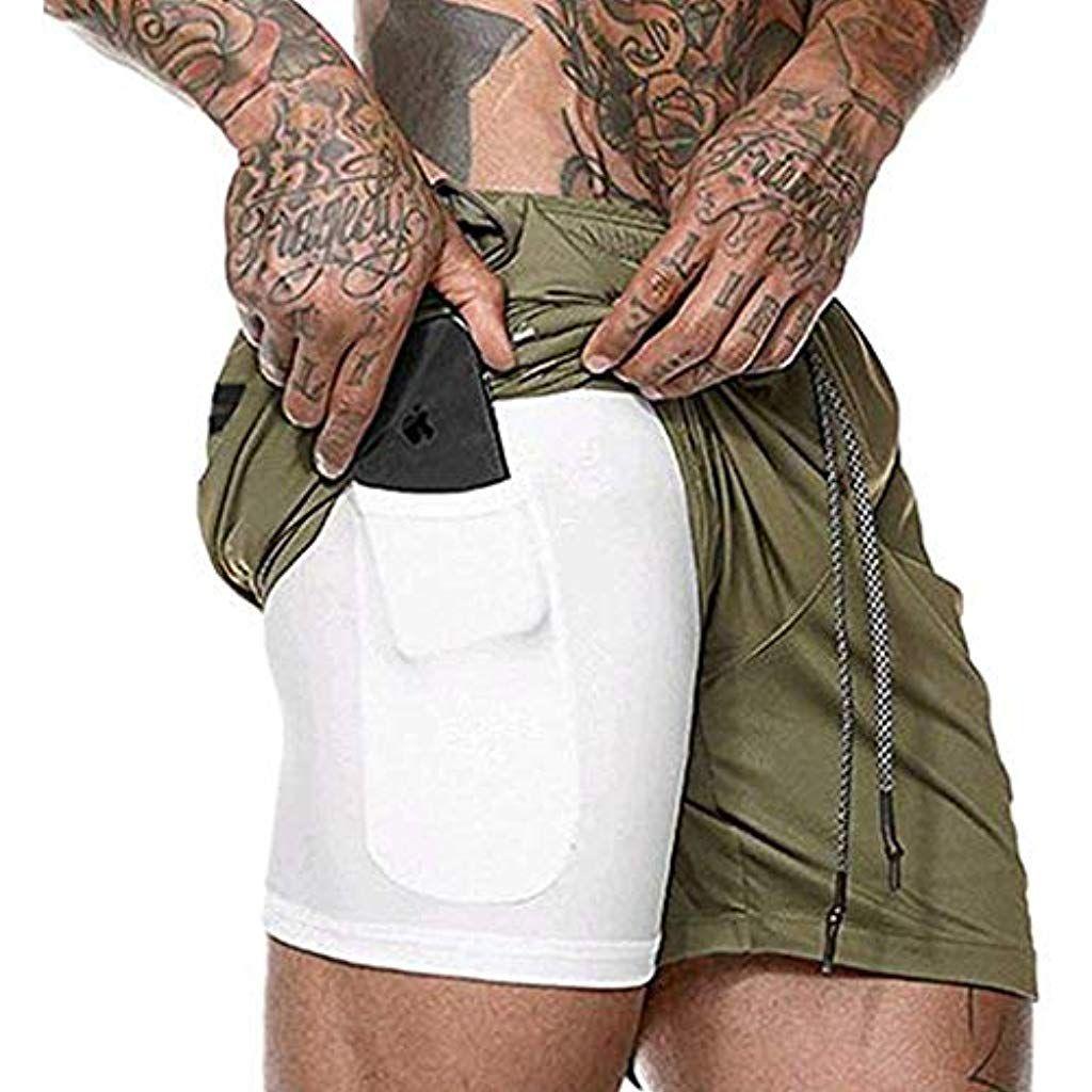 Pantal/ón Corto para Hombre,Pantalones Cortos de Verano de los Hombres,Pantalones Cortos Deportivos para Correr 2 en 1 para Hombres Secado r/ápido Transpirable con Forro de Bolsillo Incorporado