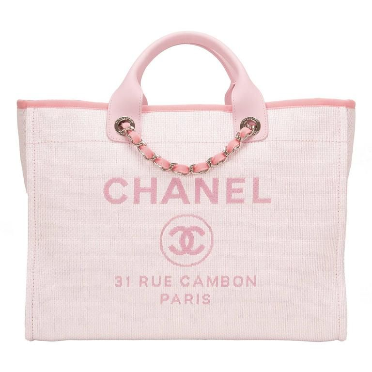 c92b2d752 Chanel Pink Canvas Large Deauville Shopping Tote | Tote bags ...