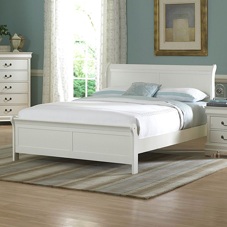 Homelegance marianne white queen sleigh bed w white sleigh bed