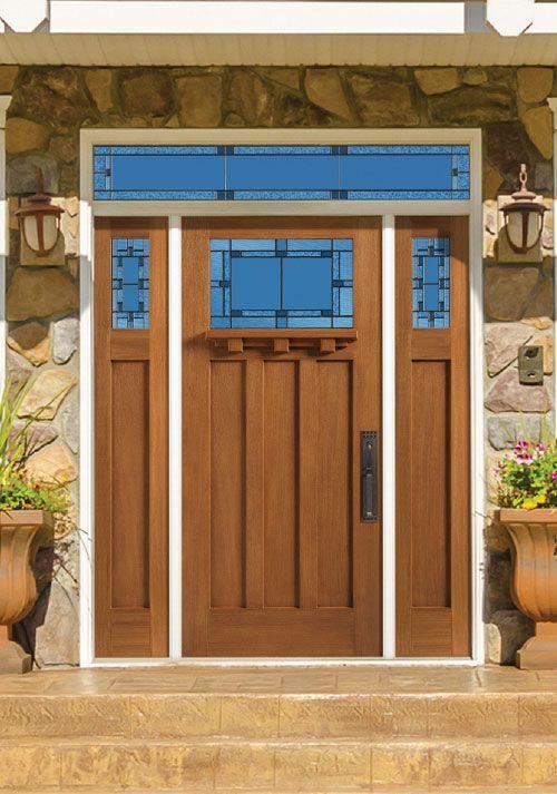 Beautiful Oak Textured Barrington Craftsman Entry Door With Marco Glass Love It Www Franksglass Com Door Design Masonite Doors Entry Doors
