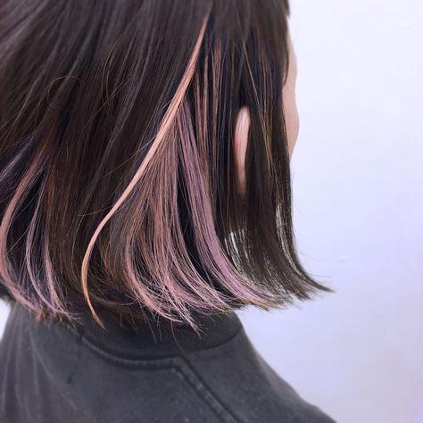 サーモンピンク シルバーラベンダー シャーベットオレンジのインナーカラー インナーカラー ボブ ヘアカラー 黒髪 メッシュ