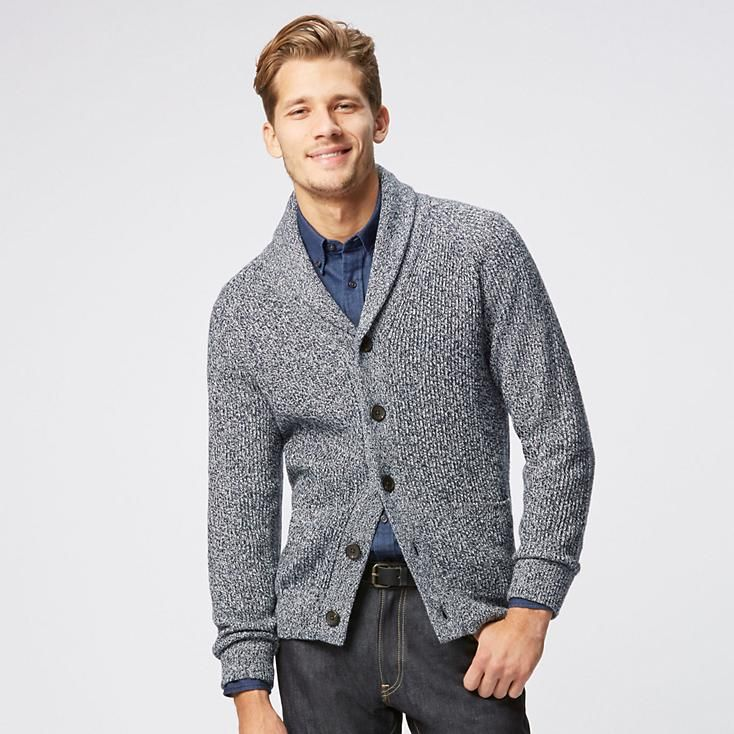 52fa927615 MEN HEAVY GAUGE SHAWL COLLAR CARDIGAN