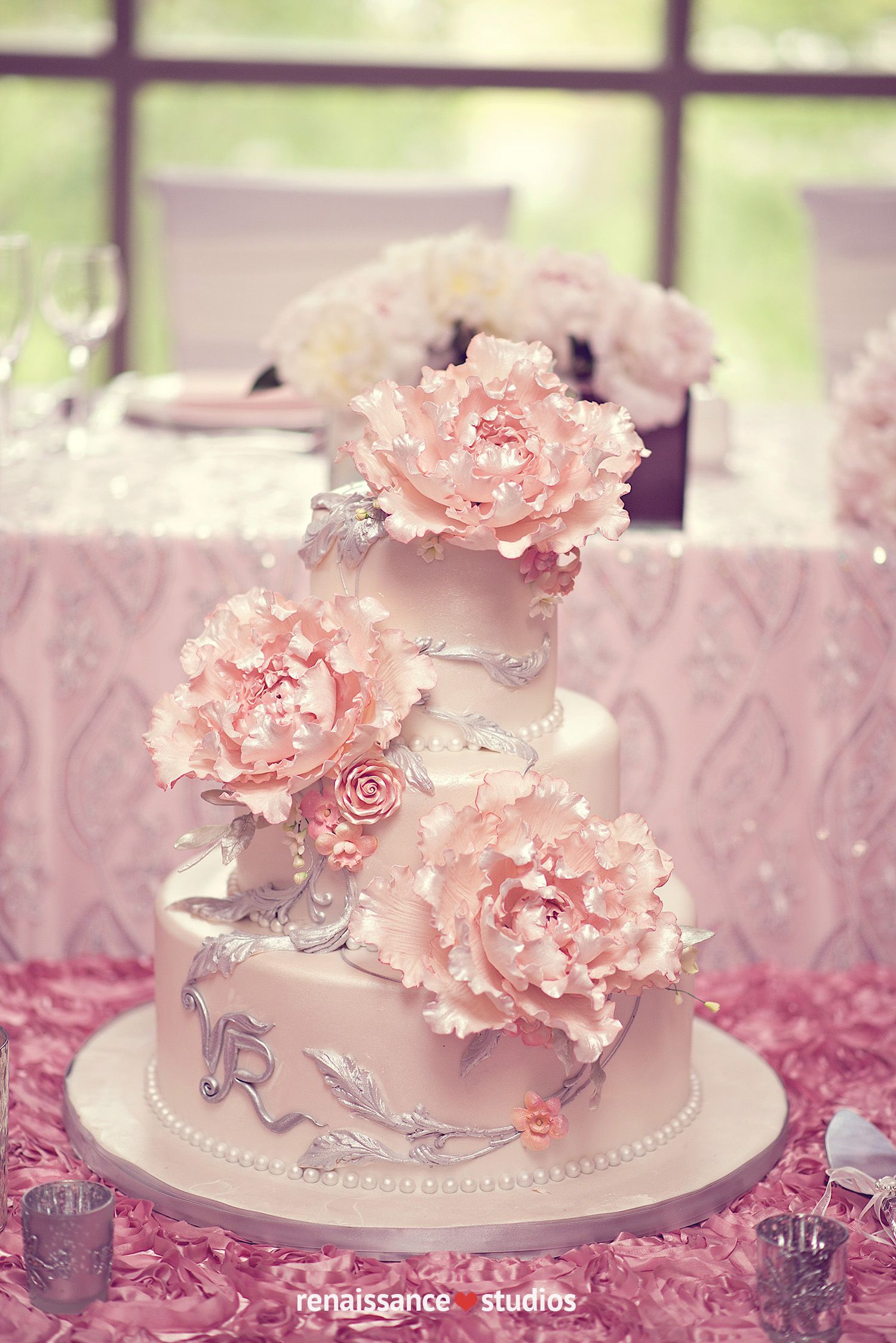 Gorgeous pink with silver details wedding cake! Renaissance Studios ...