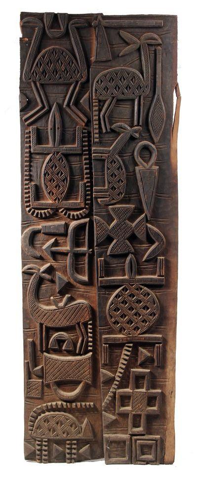 África | paneles de las puertas de los senufo desde el sur de Malí | madera | siglo 20