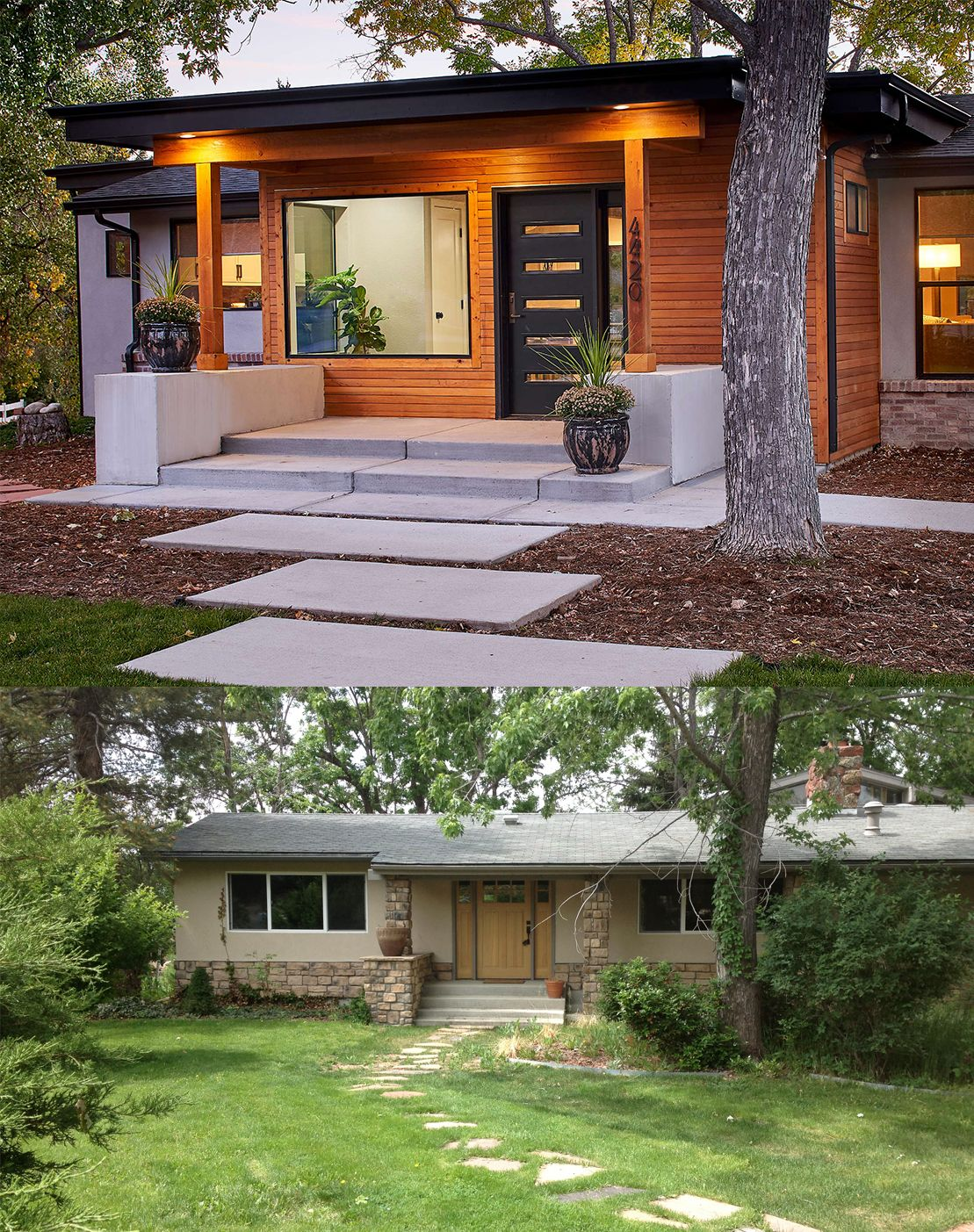 Denver Mid Century Home Gets Stunning Makeover Completely Transforming Its Curb Appeal Ranch House Exterior Modern House Exterior House Makeovers