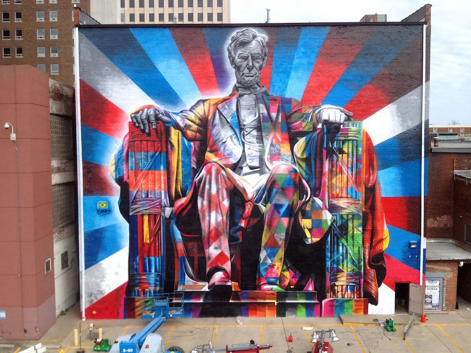 By eduardo kobra of abraham lincoln in kentucky usa for Mural eduardo kobra