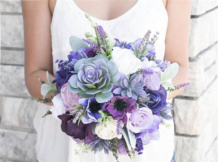 Natural Touch Purple Lilac Succulent Sprays Bouquet. A Freshly Gathered look bouquet using Succulents, Purple Anemones and Roses, Lilac Flowers and  Lavender Sprays Silk Wedding Bouquet. #purpleweddingflowers