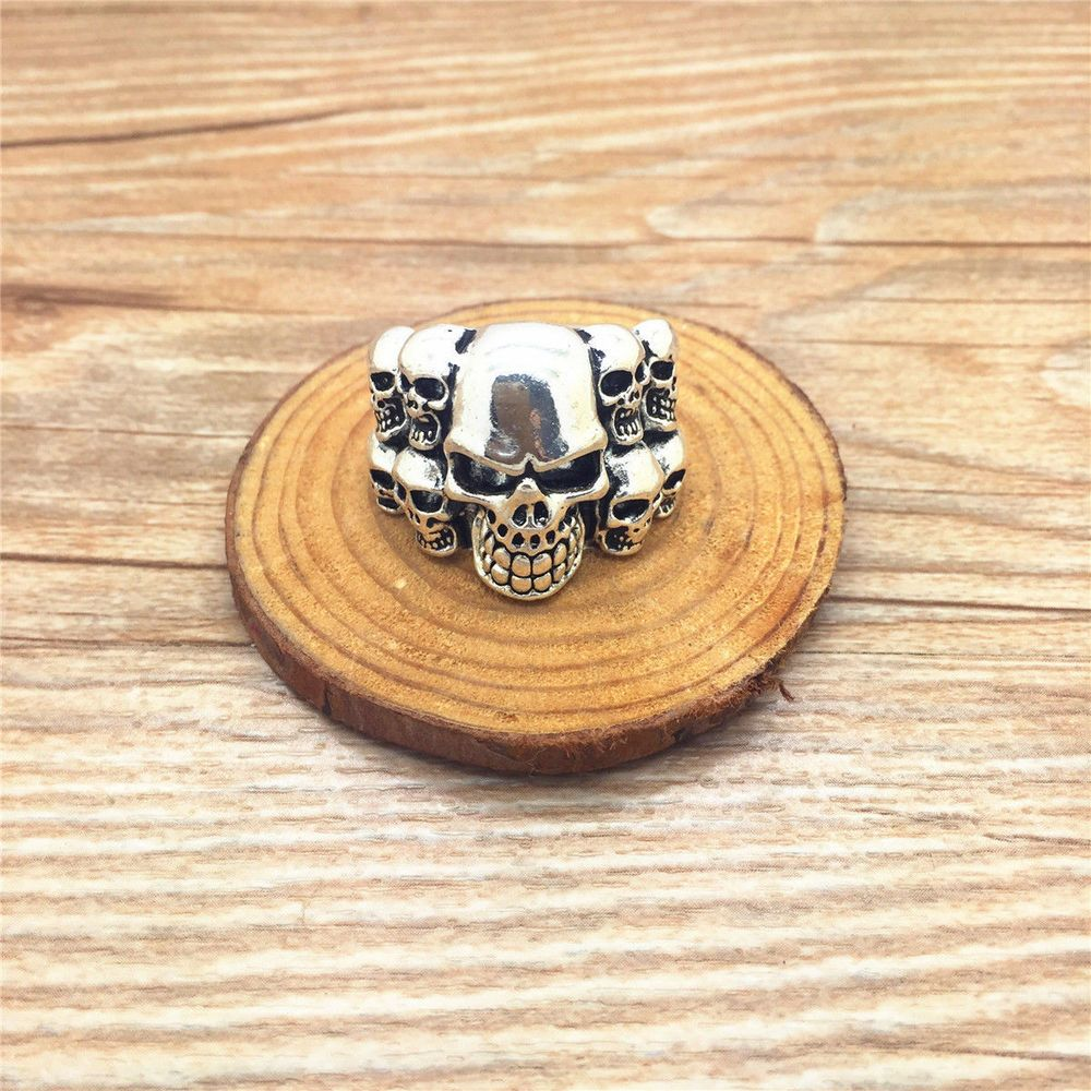Vintage Men's  Stainless Steel Vogue Design Mini Skull Ring Size 11 #Unbranded