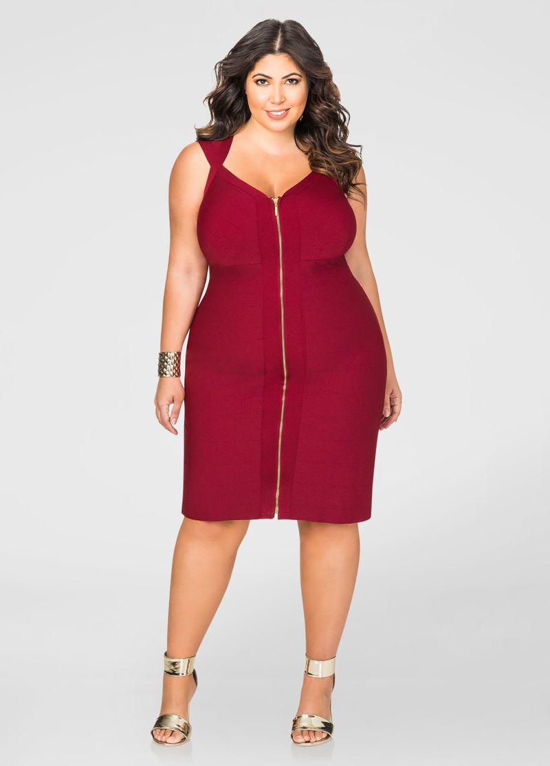 54725d596205 Zip Front Bandage Dress | Moda xl | Ropa para gorditos, Moda tallas ...