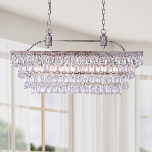 Antique Silver 6 Light Rectangular Glass Droplets Chandelier Com Ping The Best Deals On Chandeliers Pendants