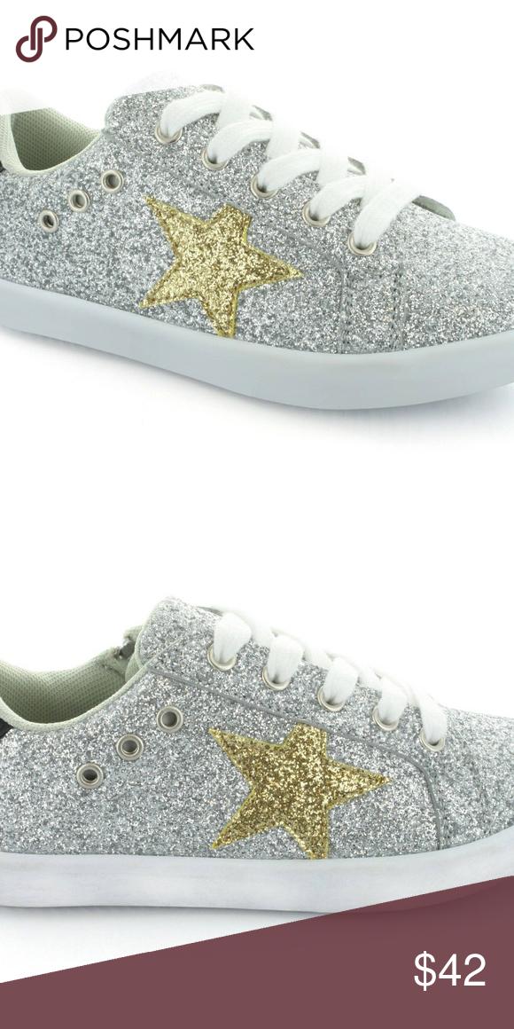 Silver Gold Tennis Shoe Girls 7/8-9/10