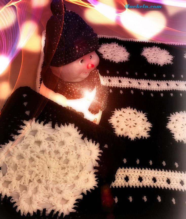 Schneeflocke Winterdecke Kissen Kostenlose Anleitung . Häkeln ...