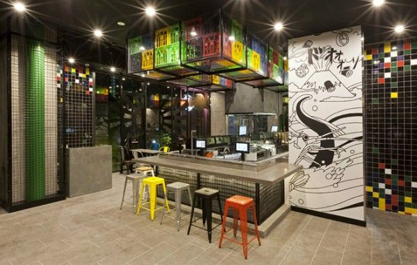 recycle concept............. Crates used as decoration for Sushizilla's restaurant in Sydney | Recyclart