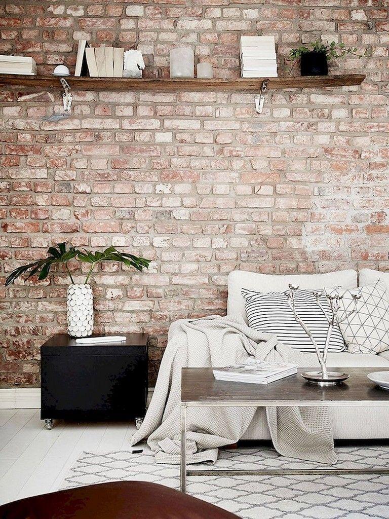 48 Marvelous Shabby Chic Living Room Brick Wall Decoration I