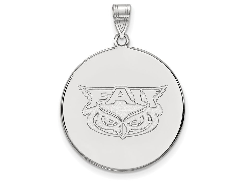 LogoArt Sterling Silver Florida Atlantic XL Disc Pendant Necklace - Chain Included