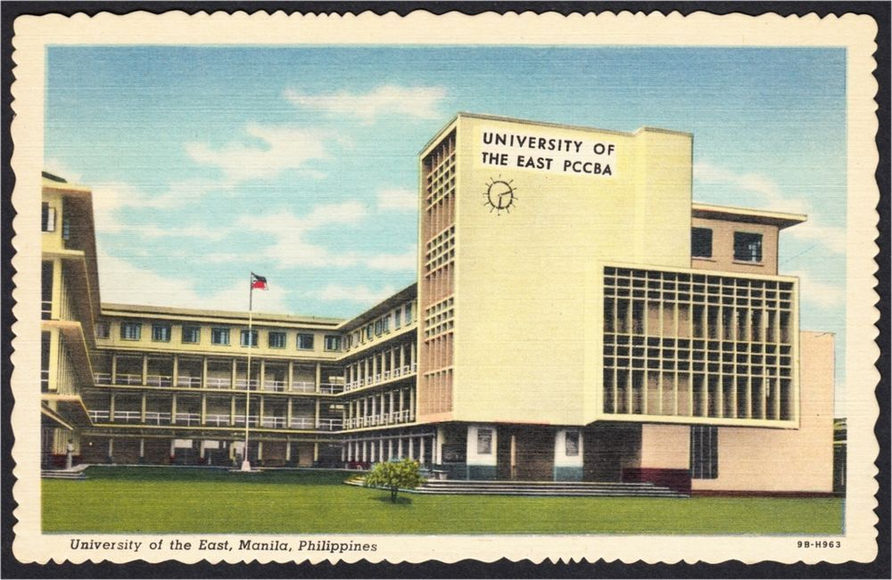 A linen postcard of University of the East (Philippine College of Commerce and Business Administration, PCCBA) in Manila, Philippines. It was published in 1949 by the Philippines Education Company. It was printed by Curteich of Chicago.