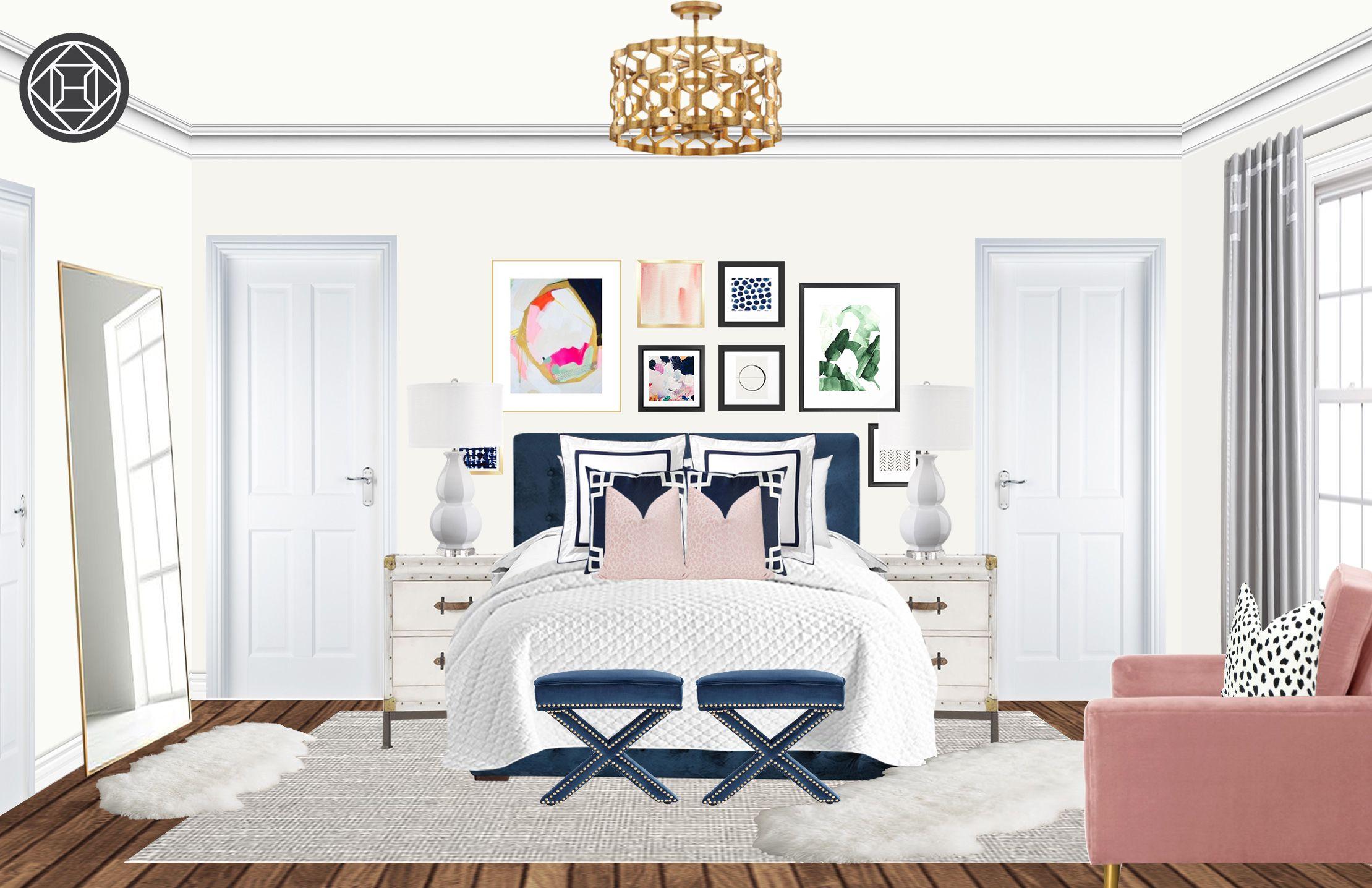 Contemporary Preppy Bedroom Design By Havenly Interior Designer